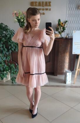 sukienka weselna różowa